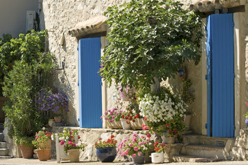 Cottage, blue door with flower in Provence, France.