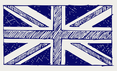 Flag of England. Doodle style