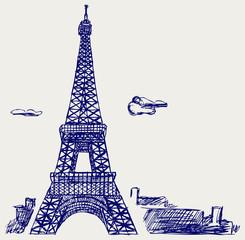 Foto op Canvas Illustratie Parijs Eiffel Tower in Paris. Doodle style