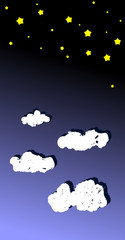 Illustration of the sky full of stars and clouds