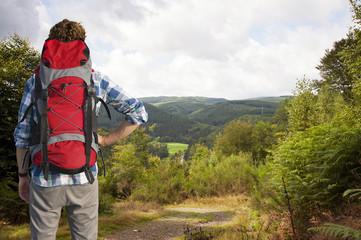 Hiker admiring a view