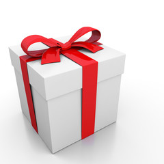 White gift box and red ribbon