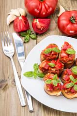 Fresh made Bruschetta on a plate