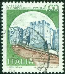 stamp printed by Italy, shows castle, Imperatore Prato Florence