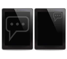 Comment icon on tablet computer background