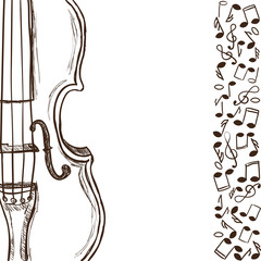 Violin or bass and music notes