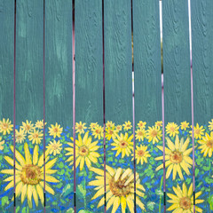 Sunflowers painting on fence wood