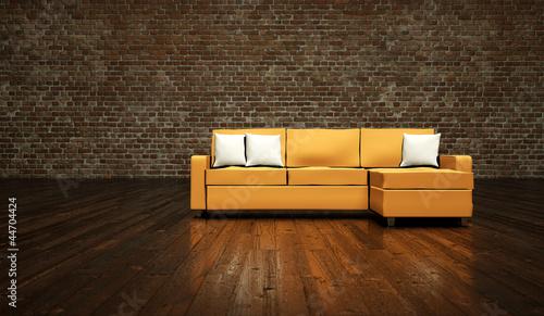 Wohndesign sofa vor klinkerwand stockfotos und for Wohndesign 2012