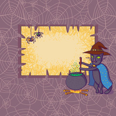 Vector Frame With Cat In Hat And Spiders.