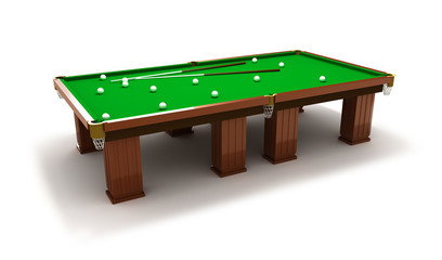 Billiard table with balls and cues