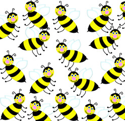 seamless background with friendly smiiling bees