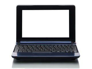 blauer computer mit weißem bildschirm von vorne