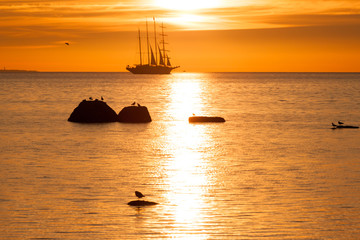 Schooner silhouette at sunset