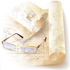 Grunge architectural background with rolls of technical drawings