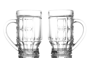 empty beer glasses, isolated on white