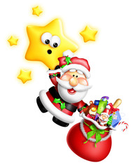 Whimsical Cartoon Santa Hanging From Cute Star