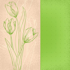 graphic green tulips on old paper
