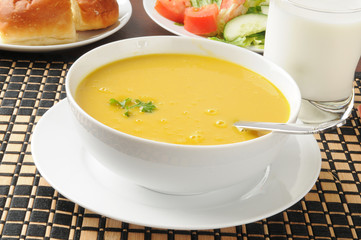Butternut squash soup with salad