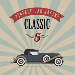 Wall Mural - Vector vintage classic car