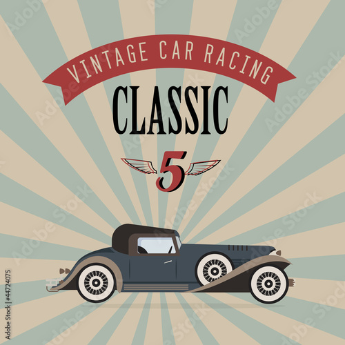 Wall mural Vector vintage classic car