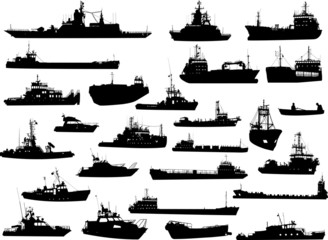 Set of 26 silhouettes of sea yachts, towboat and the ships