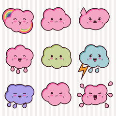 Wall Mural - Collection of funny and cute happy kawaii clouds.