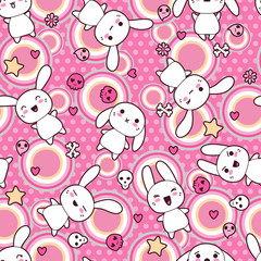 Wall Mural - Seamless pattern with doodle. Vector kawaii illustration.