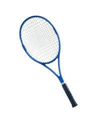 Blue tennis racket isolated white background