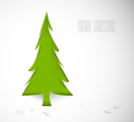 Simple vector christmas tree cut out from white paper