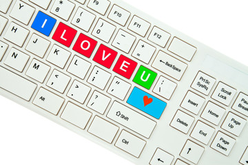 Wording I Love You on computer keyboard isolated on white backgr