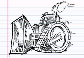 Sketch Doodle Bulldozer Vector