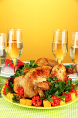 banquet table with roast chicken
