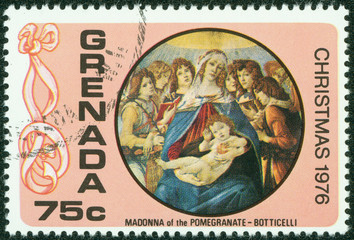 stamp depicts the Madonna and Child, Christmas