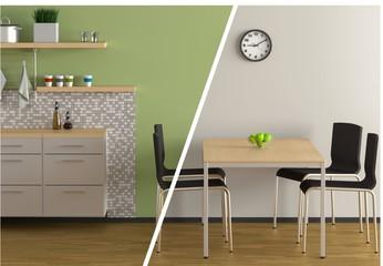 Collage Küche grün/grau