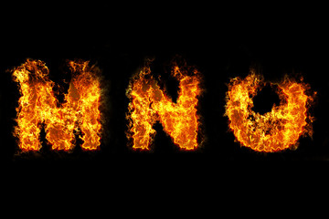 Fire on letter MNO