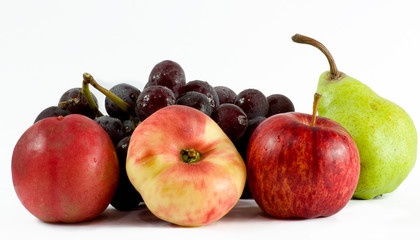 fruits closeup and isolated against white background