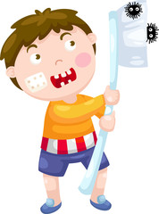 boy with toothbrush vector illustration on a white background