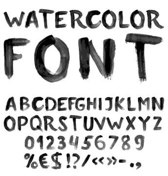 Handwritten black watercolor alphabet