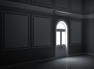 Dark empty room interior with illuminated door