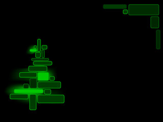 Abstract green glowing xmas tree on black background