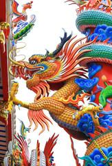 Colorful dragon on a pole.