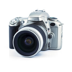 One black Film camera.isolated on white background