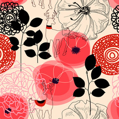 Spoed Fotobehang Abstract bloemen Flowers and deers seamless pattern