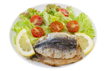 fried fillet of sardines with salad