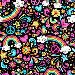 Groovy Rainbows Psychedelic Doodle Seamless Vector Pattern