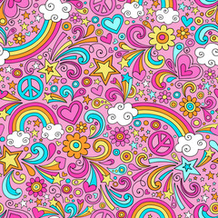 Peace and Rainbows Psychedelic Doodle Seamless Vector Pattern