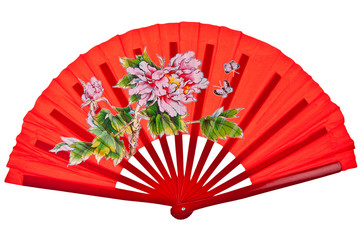 Red oriental chinese fan isolated on white background