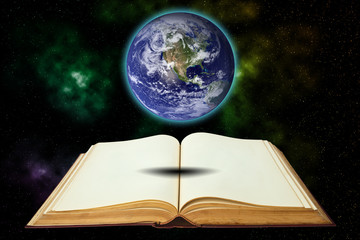 Opened old book with earth isolated on white background