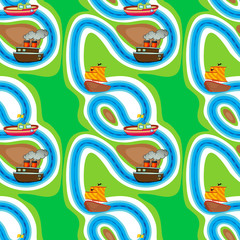 La pose en embrasure Route Seamless pattern with kid's theme