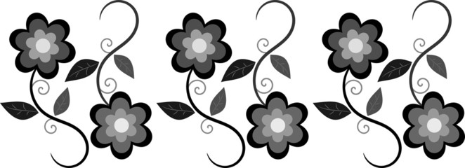 Black and gray floral border